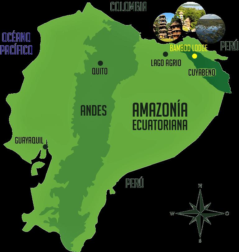 bamboo lodge map ecuador
